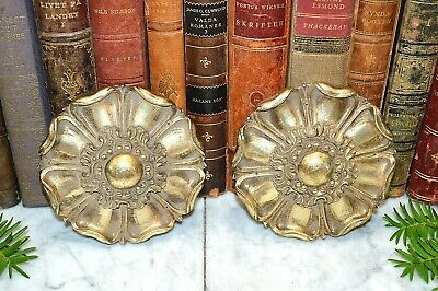 Vintage Large Carved Wood Gilded Rosettes Architectural Trim Elements