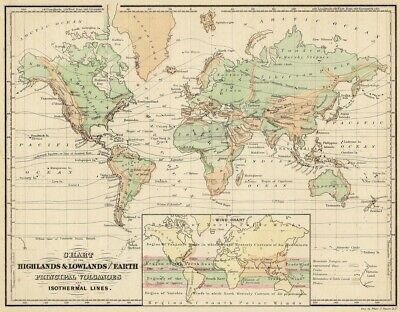 OCEAN CONTINENTAL BASINS 1880s CHART map CURRENTS Co-Tidal Lines CLIMATE CHANGE