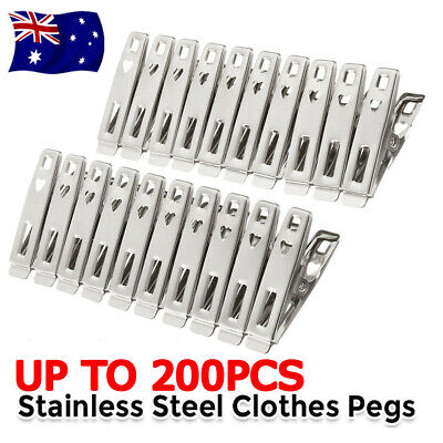 UP 200X Clothes Pegs Stainless Steel Hanging Pins Clips Laundry Metal Clamps New