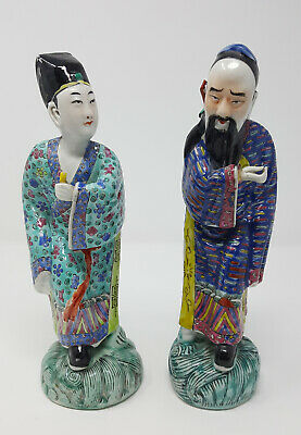 Two of Antique Chinese Famille Rose Porcelain Immortal & Scholar Figurines