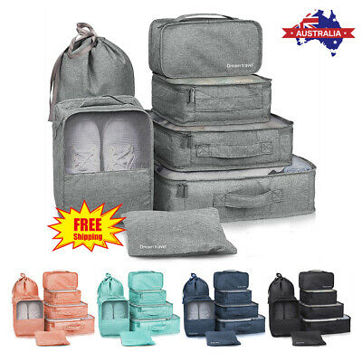 7Pcs Clothes Storage Bags Packing Cube Travel Suitcase Luggage Organizer Pouch