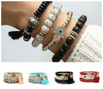 Fashion Lady Multilayer Metal Bracelet Beads  Tassel Bangle Beaded Wrap Gift