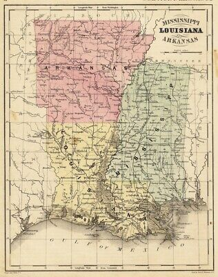 MISSISSIPPI LOUISIANA n ARKANSAS 1880s MAP Rand McNally color SOUTHERN Geography