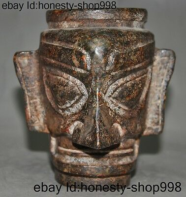 "5"" Collect Rare Chinese Old jade Carving mystery Sanxingdui Man head Cup statue"