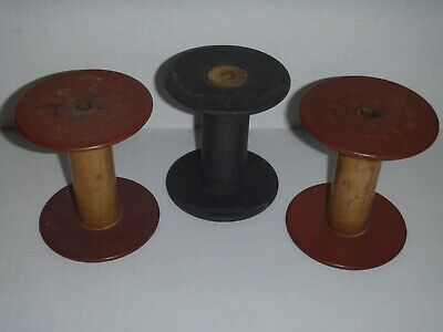 Lot of 3, Antique Vintage Wooden Ribbon Industrial Spools from 1929