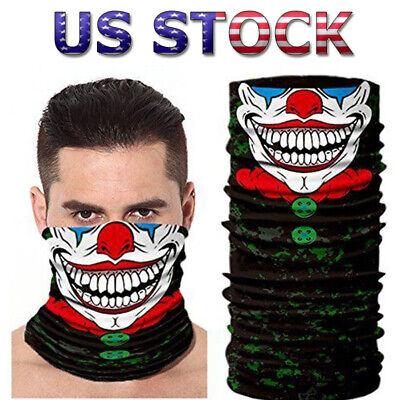 Joker Clown Face Shield Sun Mask Balaclava Neck Gaiter Headwear UV Bandana US