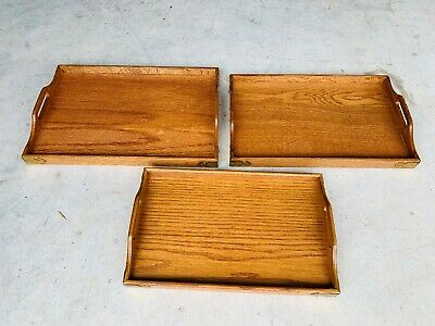 Beautiful Vintage Arts & Crafts Mission Oak Food Trays Set W/ Brass L@@K
