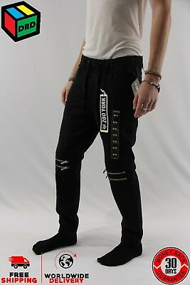 Zoo York Black Unisex Moto Zip Jogger Denim Jeans Pants Zipper - M Medium NEW