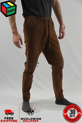 Zoo York Brown Unisex Moto Zip Jogger Denim Jeans Pants Zipper - M Medium NEW