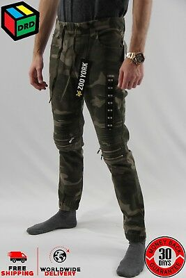 Zoo York Camo Unisex Moto Zip Jogger Denim Jeans Pants Zipper - M Medium NEW