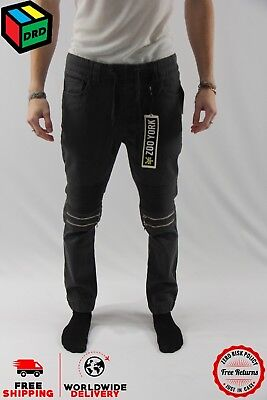 Zoo York Grey Unisex Moto Zip Jogger Denim Jeans Pants Zipper - M Medium NEW