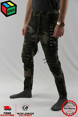 Camo Zoo York Unisex Moto Zip Jogger Denim Jeans Pants Zipper - M Medium NEW