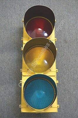 "Vintage Crouse Hinds 3 Way Traffic Light Signal Stop 11"" Lenses w/ Visors Wired"