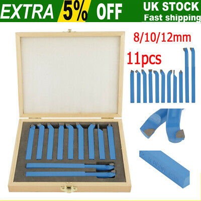 8/10/12mm 11pcs Steel Lathe Cutting Tool Set Carbide Tip Turning Boring Bit