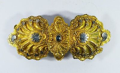 LARGE SIZE 25x11.5 cm EARLY 18th ANTIQUE OTTOMAN SILVER GILT NIELLO BELT BUCKLE