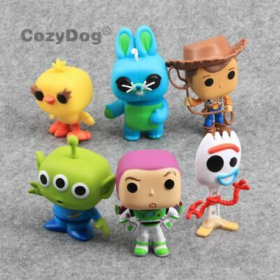 6X Toy Story 4 Forky Bunny Ducky Buzz Woody Alien Action Figure Cake Topper Toys