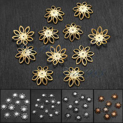 500 PCS Wholesale Gold /Silver Plated Flowers Bead Caps Jewelry Findings 21mm