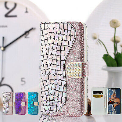 Fashion Glitter Magnetic Leather Flip Wallet Case Cover For iPhone 7 8 Plus XR X