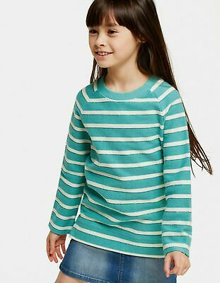 Fat Face Girls Green Stripe Sparkle Crew Neck Sweat - Age: 10-11 Years