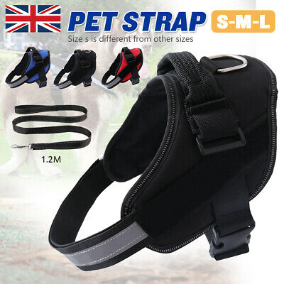 Dog Harness Pet Vest Outdoor Adventure Security Adjustable Reflective +Lead Tape