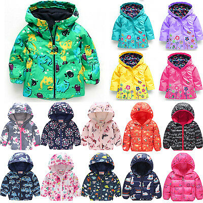 Kid Boy Girl Printed Hooded Jacket Winter Zipper Hoodie Coat Windbreaker Outwear