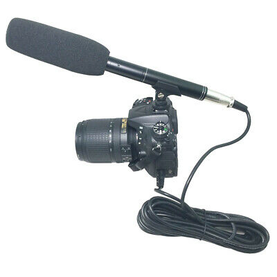 3.5mm Interview Microphone Reporter Video Handheld Mic For DSLR Camera w/ Holder
