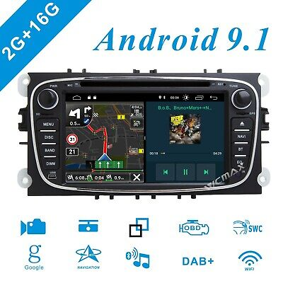 Fit Ford Focus Mondeo S/C-Max Galaxy Android 9.1 Car HeadUnit GPS DVD Stereo DAB