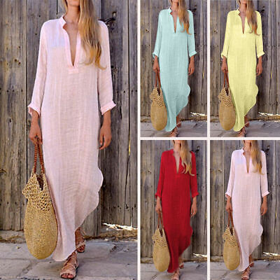 PLUS SIZE Women Cotton Linen Maxi Dress Long Sleeve Casual Boho Kaftan Tunic 4XL