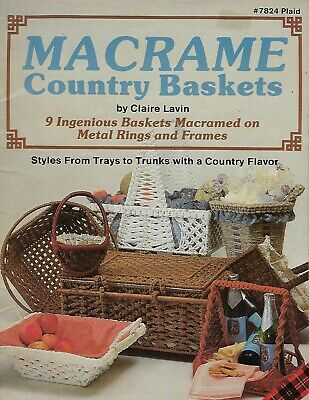 Macrame Country Baskets & Serving Trays Patterns Instructions How To Book VTG