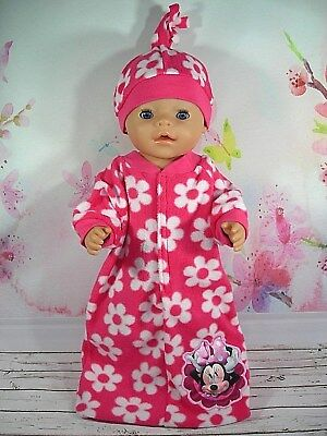 """Dolls clothes for 17"""" Baby Born doll~MINNIE MOUSE PINK/WHITE FLOWER SLEEPING BAG"""