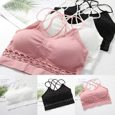 Women Yoga Fitness Stretch Workout Hollow Vest Crop Tops Padded Sports Bra