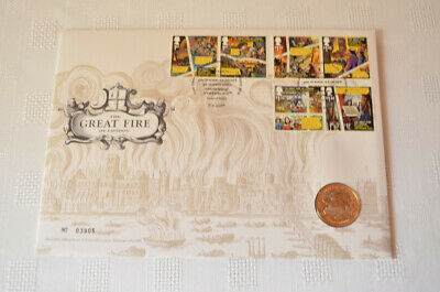 GB GREAT FIRE OF LONDON QEII  PNC COVER and £2 COIN ROYAL MAIL MINT 2016