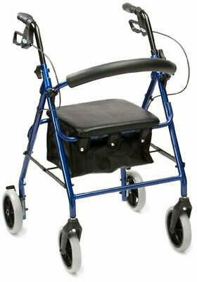 Drive Aluminium Rollator with Padded Seat Under Seat Bag Outdoor Walker Activity