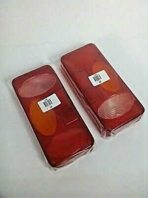 + 2x Trailer Replacement Lens  Large Lights/Lamps Cover PAIR Red Orange 70:10