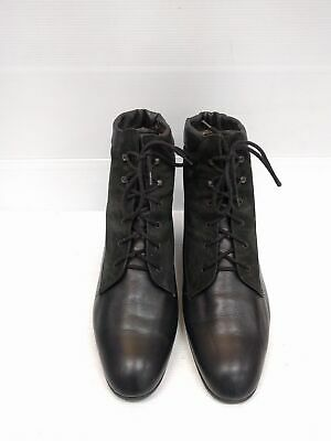 Sz 9 Vintage Ladies Black SEMLER Leather and Suede Grunge lace up leather boots