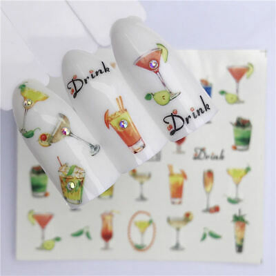 Nail Art Water Decals Stickers Transfers Summer Holidays Cocktails Drinks A1415