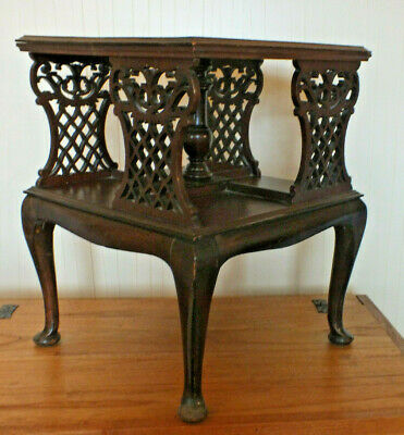 Victoria Occasional Display Table Open Carved Panels Antique Wood. Manchester