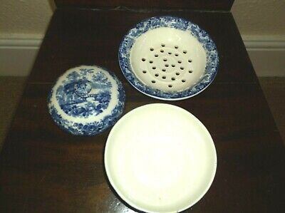 Rare Antique 19 C Minton Blue & White Strawberry Dish, 3 Pieces Cover/Dish/Base
