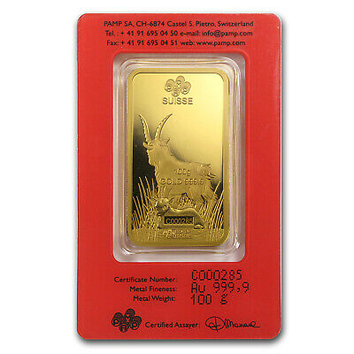 100 gram Gold Bar - PAMP Suisse Year of the Goat (In Assay) - SKU #86050