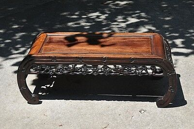 Hand Carved  Solid Mahogany vintage Coffee Table, circa 1947