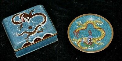 "Antique Chinese Cloisonne DRAGON Smoking Set w/ 3.9"" Box & 3.75"" Ash Tray"