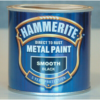Hammerite Direct to Rust Smooth Black Metal Paint - 250ml