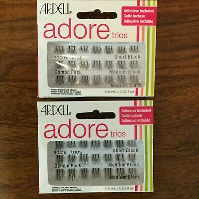 d760420c3ae 2 x ARDELL ADORE TRIOS Lashes Black Adhesive included x 2 Packs New
