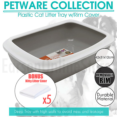Plastic Cat Litter Tray with Rim Kitty Toilet Pan Trays Kitten Pet Cleaning Up