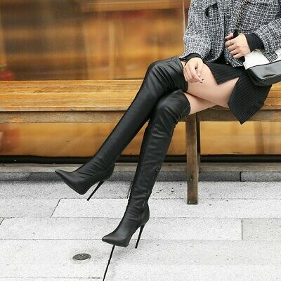 Womens High Stiletto Heel Pointy Toe Over Knee Thigh Boots Shoes Zipper Cosplay