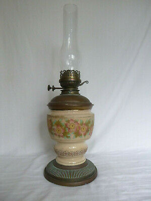 Late 19th C. antique, ceramic Hinks & Sons oil lamp No. 1259