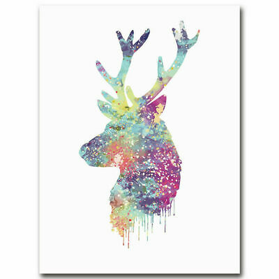 217600 Nordic Watercolor Deer Head Decor PRINT POSTER UK