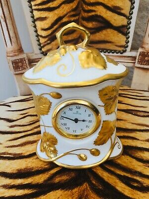 Minton Victoria Strawberry Gold Leaf Gilt & White China Decorative Clock