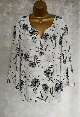 NEW Ladies Bonmarche Top size 20 Beautiful Floral 3/4 Sleeve Tunic  Bell Cuffs
