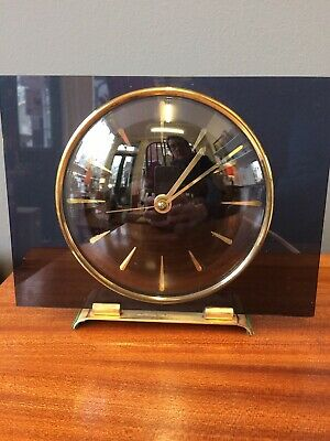 Smiths Black Perspex  & Brass Electric Mantle Clock Working Vintage Retro